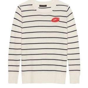 BANANA REPUBLIC Kiss Lips Striped Sweater
